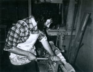 Megas-making-a-table-leg-on-the-lathe-San-Francisco-1975